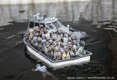 This was a put a pound in the slot and drive model boating lake by Banksy at Dismaland
