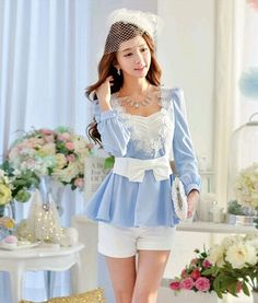 Blue+Bow+Tie+Lace+Long+Sleeve+Top+Shirt
