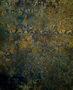 Grunge,rustic,worn,vintage,damask,pattern,floral,gold,wall…