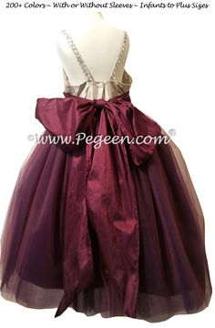 Flower Girl Dress Style 909 FAIRYTALE COLLECTION - the Amethyst Fairy - in Eggplant and Platinum Silk and Tulle   Pegeen