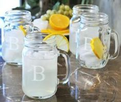 cute idea! monogram mason jar/mugs, use as drink glasses and give away as favors! and can do it yourself