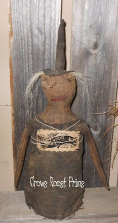 Witch'S Cafe Witch Primitive Halloween Crows by CrowsRoostDolls