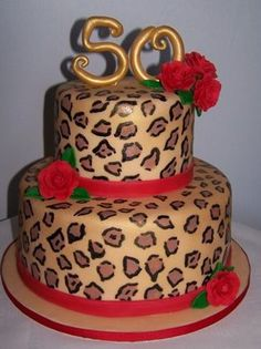 Two tier leopard spot Fiftieth birthday cake