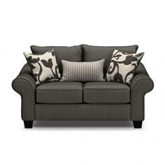 Beautiful Colette Gray Loveseat Sleeper At American Signature Furniture With Throws And Lumbar Pillow