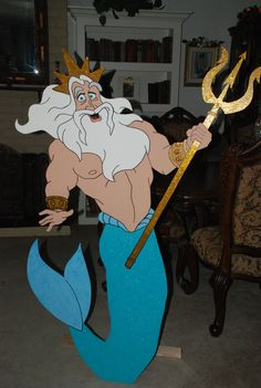 "Little Mermaid- "" King Triton "" character party prop - Available to rent from "" Wonderland Party Props "" Christmas Yard Art, Christmas Yard Decorations, 4th Of July Decorations, Little Mermaid Birthday, Little Mermaid Parties, The Little Mermaid, Party Props, Party Themes, Party Ideas"