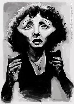 """""""Láska je nepostradatelným pokrmem pro každého člověka."""" Edith Piaf - karikatúra A3, digitálna kresba"""
