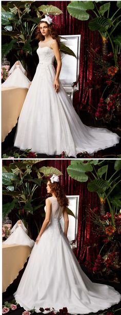 """Lovely A-line wedding dress with a brush train! Would this be the one for your big day? Repin if you like it! Click for more info remember to use coupon code """"PTL30901"""" for an extra discount when you spend $150+"""