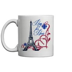 Pray For Paris Memorial | Pray for Paris memorial mug in memory of the victims of November 13, 2015. Personalized it by adding text.
