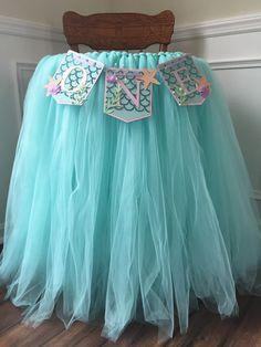 Tutu skirt highchair banner, First birthday party decor, tulle skirt, full lenght tutu skirt