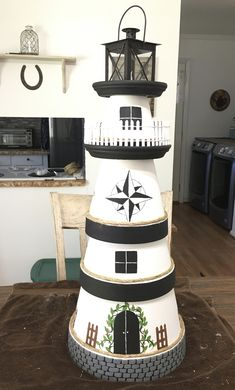 Beach Crafts, Diy Home Crafts, Garden Crafts, Diy Arts And Crafts, Summer Crafts, Flower Pot Art, Clay Flower Pots, Flower Pot Crafts, Clay Pot Lighthouse