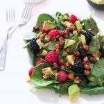 Berry Spinach Salad with Maple Cinnamon Roasted Chickpeas and Balsamic Dressing