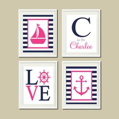 NAUTICAL Navy Hot Pink WALL ART Sailboat by LovelyFaceDesigns,