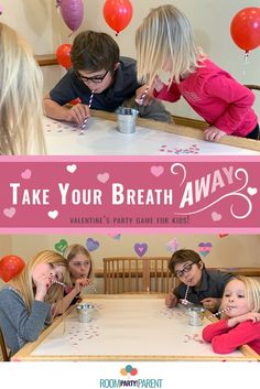 Such an easy, fun game to add to your Kids race to see who can fill their bucket with the most hearts using only a straw and their breath. Bonus: The hearts are sugar free! Can be played individually or as teams. Kids Party Games, Fun Games, Games For Kids, Valentines Day Party, Valentines For Kids, Party In A Box, School Parties, Party Planning, Sugar Free