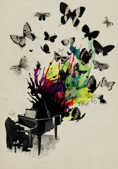 Cool artwork depicting a man playing a grand piano with paint & butterflies coming out!