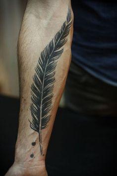 15 Big Black Feather Tattoo