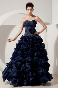 Glamorous DarkNavy Sweetheart Floor-length Natural Organza/Satin Sleeveless Ruched/Beading/Embroidery/Jacket/Belt/Flowers Lace-up Bal-Gown Prom Dress Navy Blue Prom Dresses, Princess Prom Dresses, Girls Pageant Dresses, Blue Evening Dresses, Prom Dresses Online, Cheap Prom Dresses, Cheap Wedding Dress, Dama Dresses, 15 Dresses