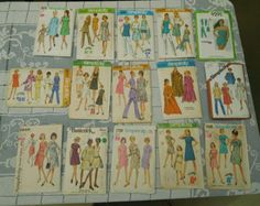 Vintage  Lot #15 Sewing Patterns Women's Mixed Retro Styles Pants -Dresses Sets -60's to 70's - Bust -42""
