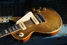 "Conversion - ""The Mutt"" - ground down no neck reset Gibson Guitars, Gold Top, Guitar Amp, Les Paul, Music Instruments, Tops, Musical Instruments, Shell Tops"
