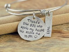 There's This Boy Who Stole My Heart He Calls Me Mom Bracelet, Alex Ani Style Bangle, Mothers Charm Bracelet