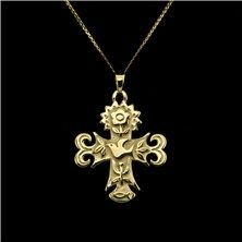 "James Avery ""La Primavera"" Cross Pendant Set in 14K Yellow Gold"