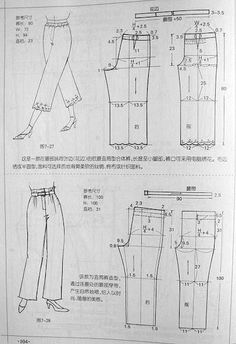 فصالة سروال - بحث Google‏ Dress Sewing Patterns, Sewing Patterns Free, Sewing Tutorials, Clothing Patterns, Sewing Pants, Sewing Clothes, Diy Clothes, Diy Pantalon, Sewing Collars