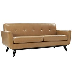 Engage Leather Loveseat in Tan