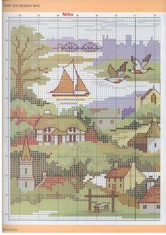 from Cross Stitch Gold 40 Cross Stitching, Cross Stitch Embroidery, Embroidery Patterns, Cross Stitch Patterns, Cross Stitch House, Cross Stitch Landscape, Vintage Cross Stitches, Blue Cross, Needlepoint