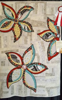 """I get so excited about my local guild's show-it's always fabulous! Enjoy a peek at this year's Folsom Quilt and Fiber Guild show: Best of Show, Inger Blood: """"A Taste of Tie&…"""