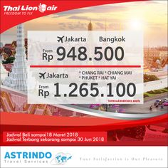 Dapatkan PROMO TIKET murah dari Thai Lion Air  Sales period: sampai dengan 18 Mar 2018 Travel period: sampai dengan 20 Jun 2018  For more information, please contact ASTRINDO TELUK BETUNG 021 390 7576 ASTRINDO PETOJO 021 351 4332 ASTRINDO JAMSOSTEK 021 522 7928 ASTRINDO OLEOS 021 2278 4348  www.astrindotour.co.id  #astrindotravelservices #promotiket #tiketmurah #travel #traveindonesia #holiday #thai #lionair #liburan