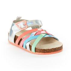 Toddler Easy USA Girls Gladiator Clover Flat Sandals
