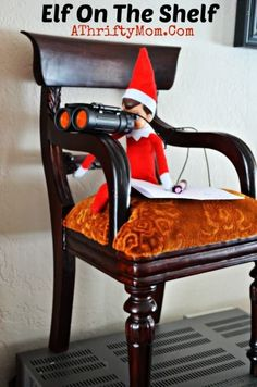 Elf on the Shelf watching the children through binoculars while they are sleeping under the Christmas tree. He is keeping a list of who is naughty or nice.... Elf on the Shelf Ideas....