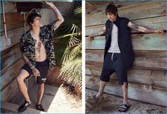 Left to Right: Leebo Freeman wears Toxic Hawaiian printed silk shirt Blackfist, swim shorts and perforated leather skate sneakers Givenchy. Leebo wears slide sandals Givenchy, ribbed parka jacket, basic rib tank and basket swinger shorts Rick Owens.