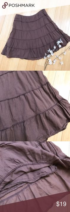ATHLETA elastic waist skirt, M. Athleta lightweight brown skirt, size medium. Elastic waist, fully lined, fun and flirty A-line design. Waist measures 15 inches across, has elastic and a side zipper. Length measures 19 inches. Good condition. Athleta Skirts A-Line or Full