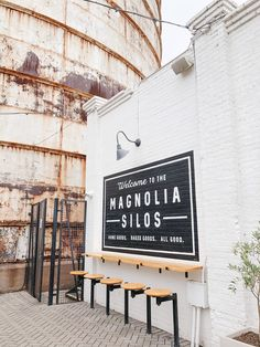 Waco, Part 1 Our girls weekend at the Magnolia Silos! Girls Weekend, Magnolia, Lettering, Signs, Travel, Decor, Viajes, Decoration, Magnolias