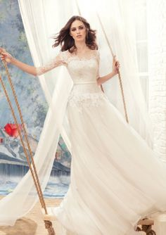 A-line Bateau Neckline Lace & Organza 3/4 Length Sleeves Wedding Dresses