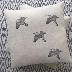 Excited to share the latest addition to my #etsy shop: Cushion Cover with Shorebird Linocut print / Australian Shorebird / handprinted / block print / Christmas / under 25 #housewares #pillow #linen #linocut #australian #australianbird #cushioncover #handprinted #shorebird