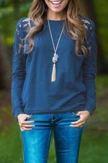 Lace patchwork sweatshirt