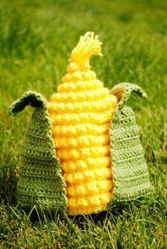 Corn Hat Crochet Pattern - Hats - Halloween: Crochet Hats by Wendy Parlow-Buol Crochet Kids Hats, Crochet Beanie, Crochet Crafts, Yarn Crafts, Crochet Clothes, Crochet Projects, Free Crochet, Knitted Hats, Baby Hut