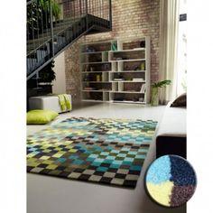 Tapis Pixel Vert Bleu Jaune Esprit Home