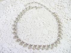 Vintage White PEARL and RHINESTONE Silver by ElegantiTesori