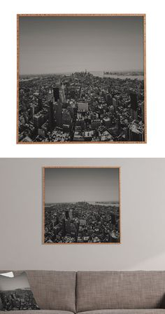 Bring a beautiful slice of the big apple into your home. Featuring a black and white bird's-eye view of the city, this  breathtaking shot will add a touch of urban character to any wall space. This cha...  Find the Hello NYC Framed Wall Art, as seen in the #TheNewLuxe Collection at http://dotandbo.com/collections/the-new-luxe?utm_source=pinterest&utm_medium=organic&db_sku=114387