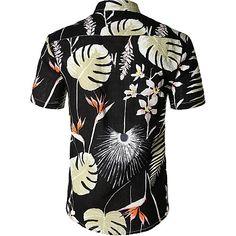 Fanient Camisa de Vestir Casual para Hombre Camisas con Botones Camisa Floral de Manga Larga Camisa Estampada Camisa de Trabajo