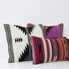 Handwoven in Mexico by  The Women of Oaxaca  Strong design brought to life in vibrant colors. This pillow brings the traditional Zapotec patterns to the modern