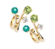 Carnival 18ct yellow gold emerald and diamond earrings D138314