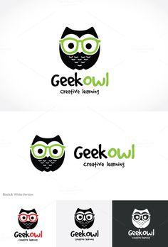 Geek Owl by Super Pig Shop on @creativemarket