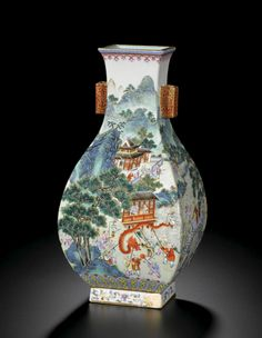 A FINELY PAINTED AND RARE FAMILLE-ROSE 'ONE HUNDRED BOYS' VASE, FANGHU<br>SEAL MARK AND PERIOD OF QIANLONG | lot | Sotheby's