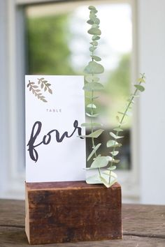 Wooden Table Number Holder with Calligraphy Table Number and Eucalyptus Leaves // table numbers, wedding, boho, rustic, diy