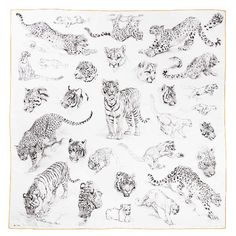 Elegant women scarves and delicate silk accessories now available on the official Hermès online store. Browse through our scarves, shawls, stoles and muflers Animal Sketches, Animal Drawings, Art Sketches, Tattoo Sketches, Tatoo Star, Tiger Drawing, Tiger Tattoo, Art Tutorials, Small Tattoos