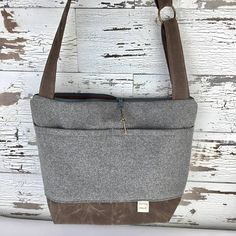 Womans Camera bag in GREY wool / cotton Waxed canvas trim
