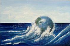 Dicotomia² - mare dipinto su tela da Violetta Viola - arte ViolaV Waves, Outdoor, Outdoors, Outdoor Games, Outdoor Living, Beach Waves, Wave